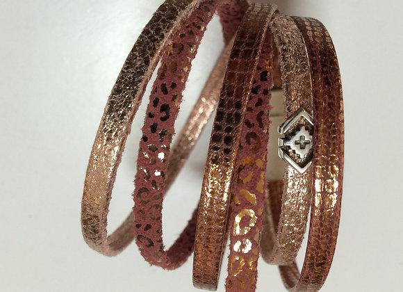 Bracelet Manchette Double en Cuir souple Saumon/Cuivre