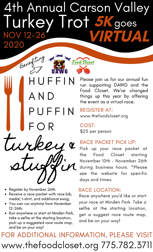 Poster Carson Valley Turkey Trot 2020 (1