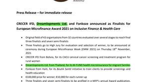 Dreamlopments & M-FUND selected as 1of3 finalist for the prestigious European MicroFinance Award 21