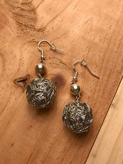 Silver-Tone Yarn Ball Earrings