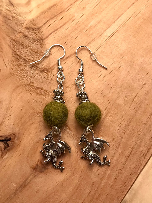 Olive Dragons Earrings