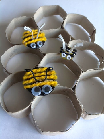 Button bees on honeycomb.JPG