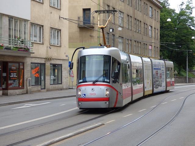 A tram driving along tram tracks