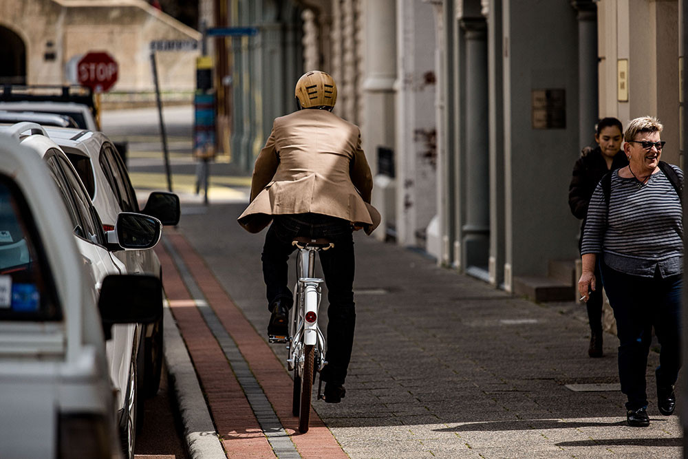 Riding on a path with pedestrians