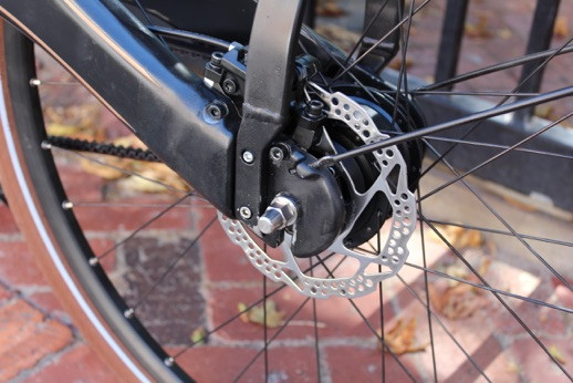 The Shimano disc brakes on the Tiller Rides Roadster