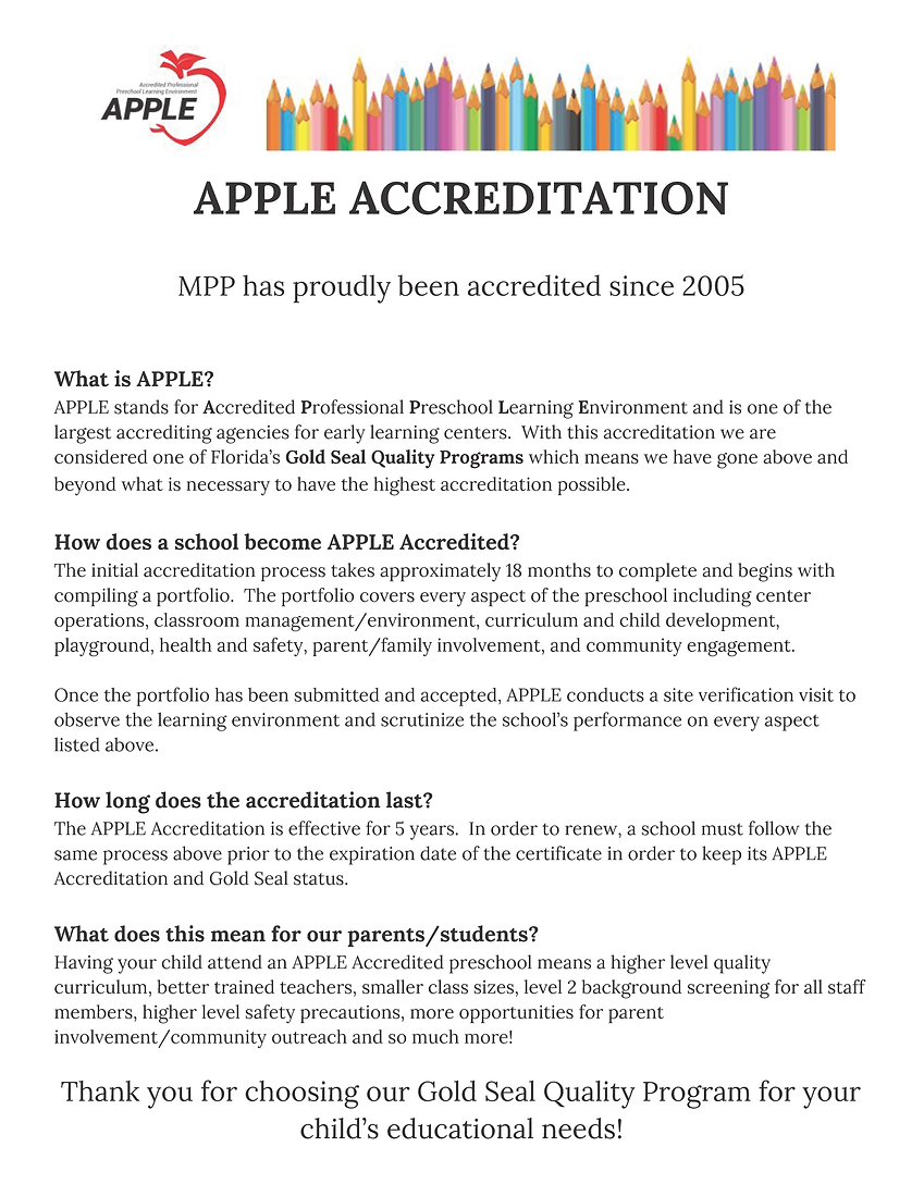 APPLE Accreditation information for pare