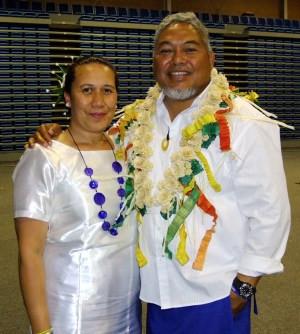 Lehi and wife Rachel Atoni after the opening day of the Fakatahiga at Te Rauparaha Arena. Photo F. Tauafiafi