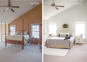 bedroom makeover interior design paint farmhouse barn wood