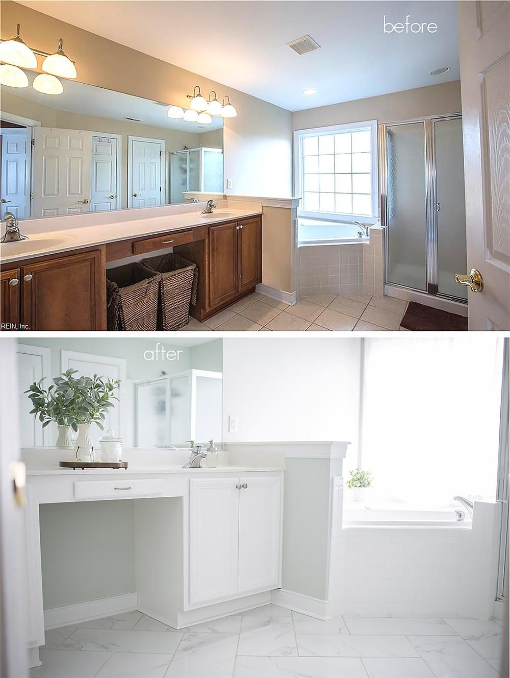 bathroom makeover interior design paint tile light and bright herringbone