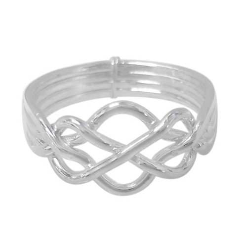 Sterling Silver Puzzle Ring with Celtic Knots (Size 6)
