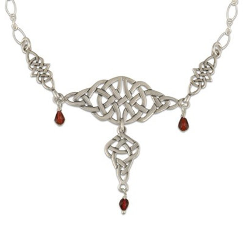 Sterling Silver Links Kalisi with Garnet Gemstone Necklace