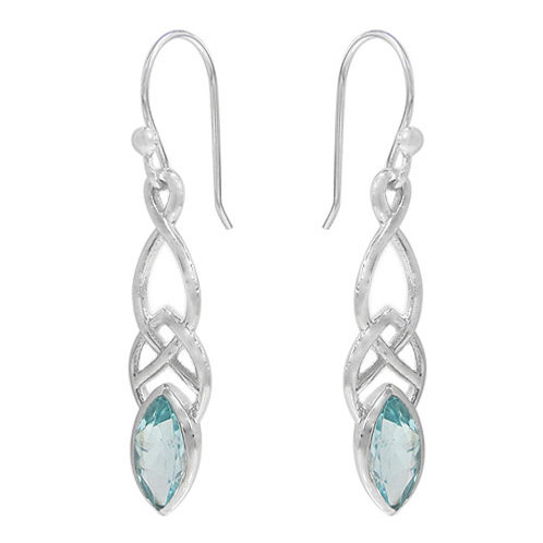 Rhodium Plated Sterling Silver Celtic Knot with faceted marquis Blue Topaz