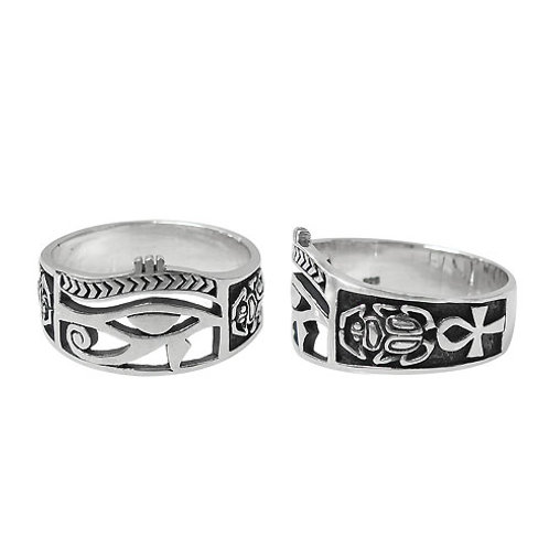 Sterling Silver Eye of Horus with Ankh & Scarab Ring (Size 8.75)