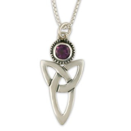 Sterling Silver Large Trinity with Amethyst Gemstone Pendant Necklace