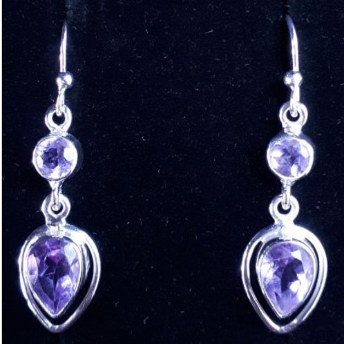 Sterling Silver with Faceted Teardrop & Round Amethyst Earrings