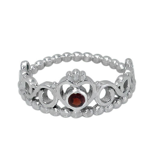 Rhodium Plated Sterling Silver Crown with Garnet Ring (Size 8)