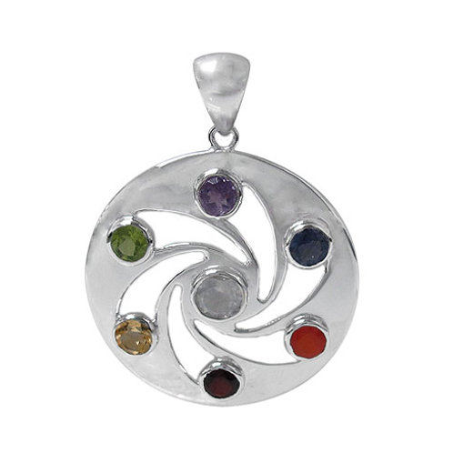 Rhodium Plated Sterling Silver Chakra Pinwheel Pendant with Multi faceted stones