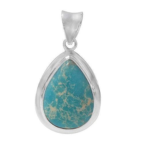Sterling Silver Blue Imperial Jasper Pendant