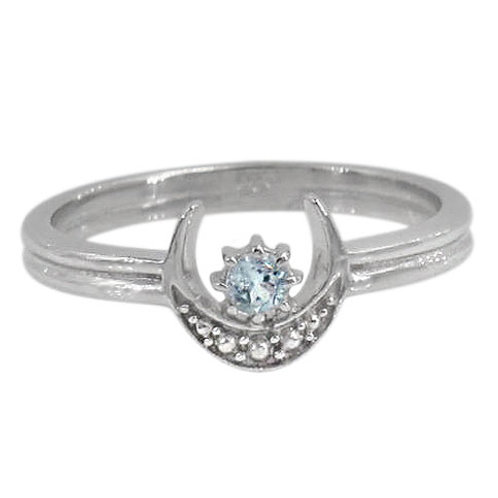 Rhodium Plated Sterling Silver Crescent Moon & Star with Blue Topaz Ring