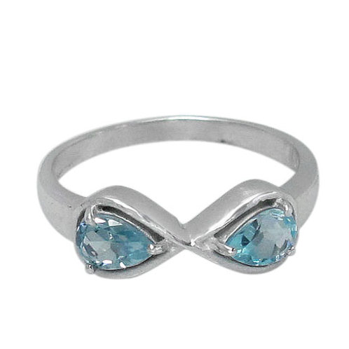 Rhodium Plated Sterling Silver Infinity With Blue Topaz Ring (Size 6)