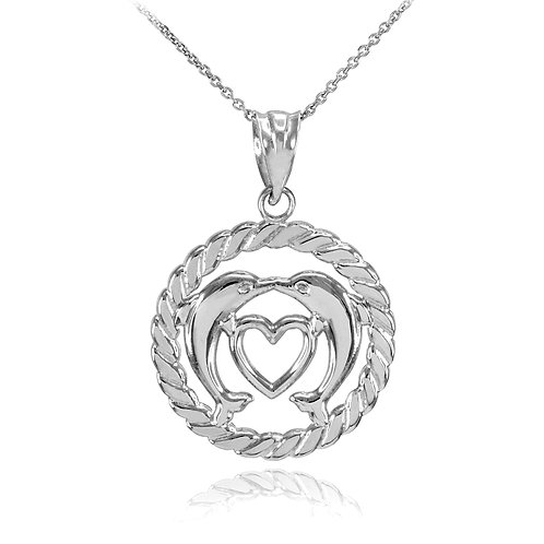 10K White Gold Heart Kissing Dolphins in Circle Rope Pendant