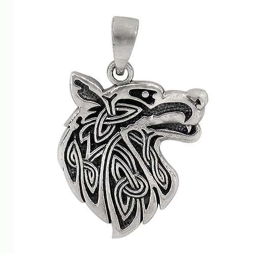 Sterling Silver Wolf with Celtic Knots Pendant