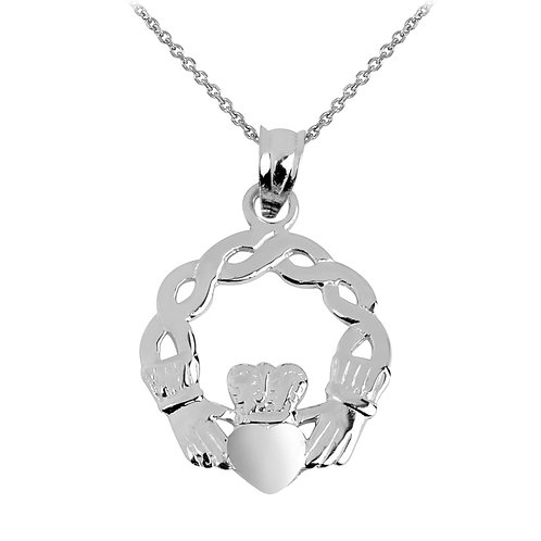 Rhodium Plated Classic Sterling Silver Claddagh Pendant