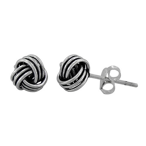 Sterling Silver with Oxidized finish Mini Love Knot Stud Earrings