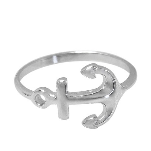 Rhodium Plated Sterling Silver Anchor Ring (Size 6.5)