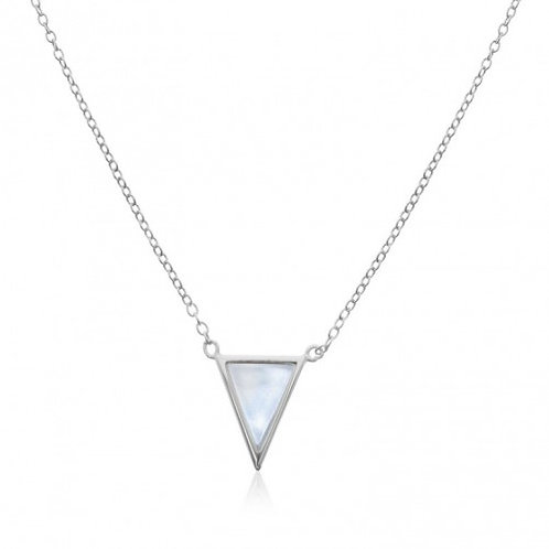 Sterling Silver with Mother of Pearl Triangular Pendant Necklace