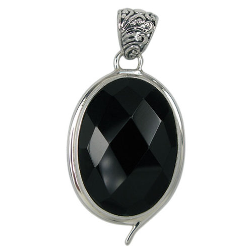 Sterling Silver Faceted Oval Onyx Pendant