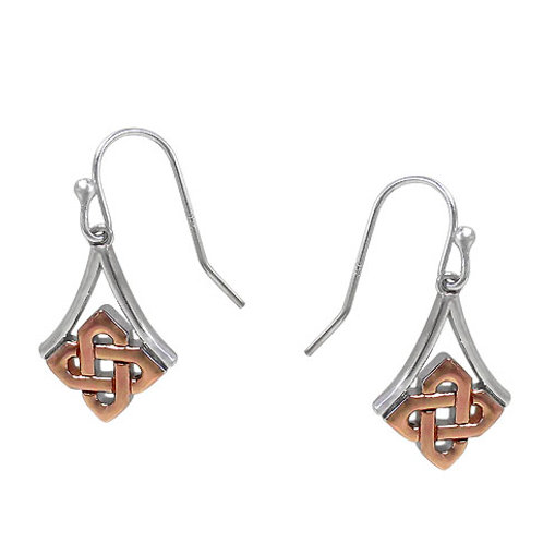 Sterling Silver with Gold Plating Celtic Knot Earrings