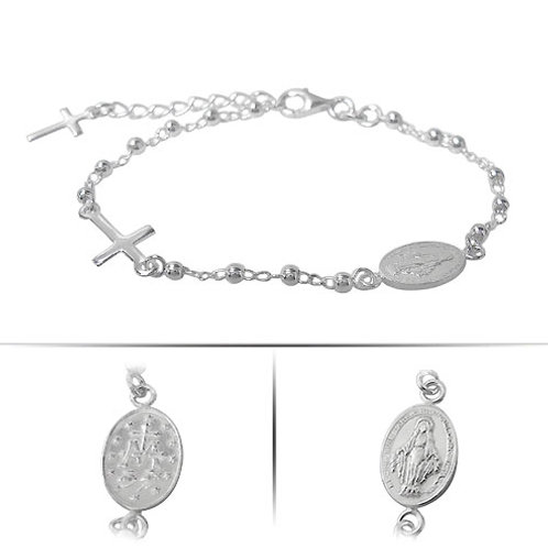 Sterling Silver Miraculous Medal and Cross Charm Bracelet