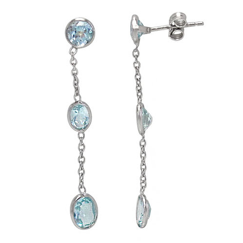 Rhodium Plated Sterling Silver with Blue Topaz Earrings