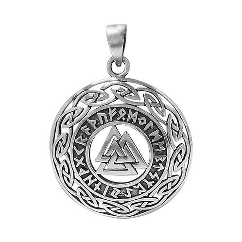 Sterling Silver Valknut Knot (Norse) with Celtic Knot Pendant