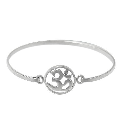 Stering Silver Om Bangle with hook closure