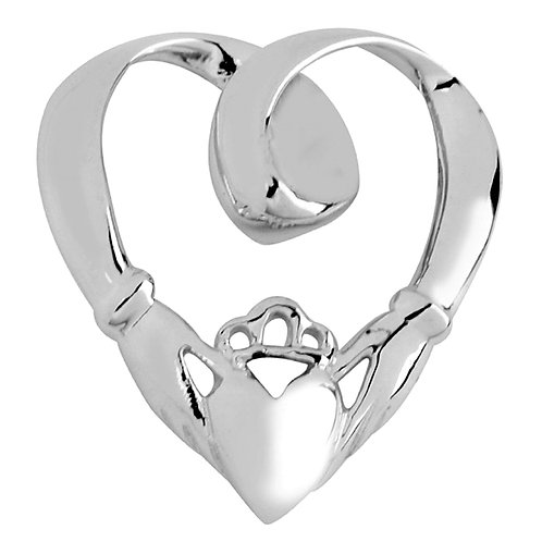 Rhodium Plated Sterling Silver Claddagh Slide Pendant