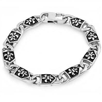 Stainless Steel Fleur de Lis Men's Bracelet
