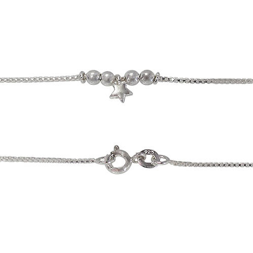 Sterling Silver Star Anklet (Made in Italy)