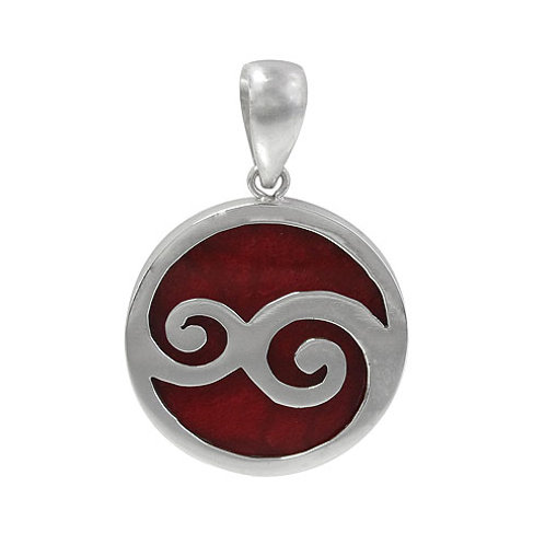Sterling Silver Double Spiral Pendant with Sponge Coral