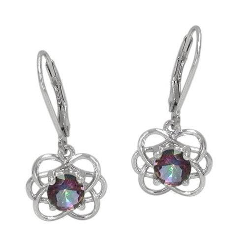 Rhodium Plated Sterling Silver Celtic Knot with Mystic Quartz Earrings