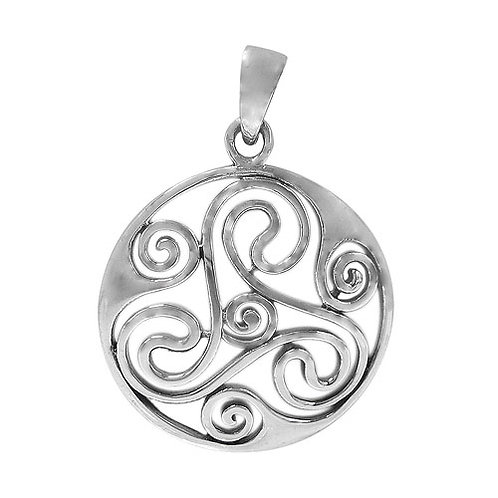 Sterling Silver Triskelion and Spirals Pendant