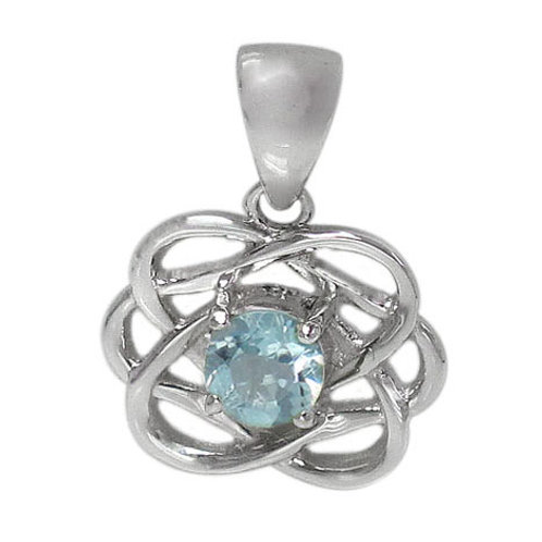 Rhodium Plated Sterling Silver Blue Topaz Celtic Knot Pendant