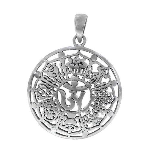 Sterling Silver Tibetan Ashtamangala (8 Auspicious Symbols) Pendant
