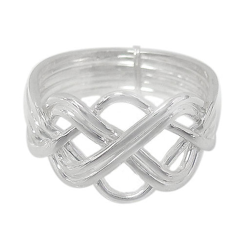 Sterling Silver Puzzle Ring with Celtic Knots (Size 7)