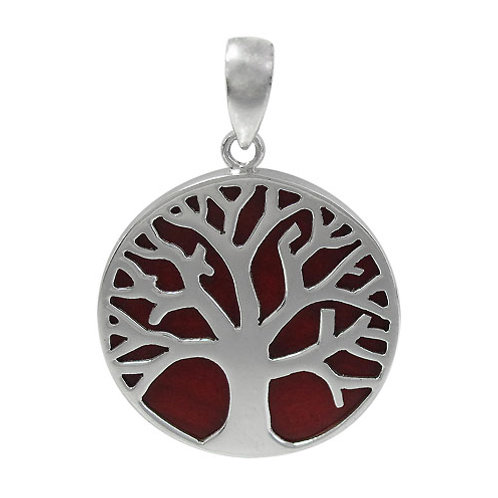 Sterling Silver Tree of life with Sponge Coral Round Pendant