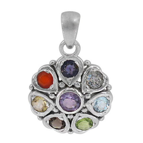 Rhodium Plated Sterling Silver Round Chakra Pendant