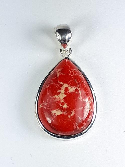 Sterling Silver Red Imperial Jasper Pendant
