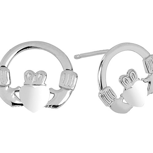 Sterling Silver Bold Claddagh Earrings