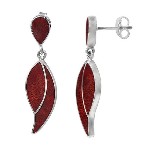 Sterling Silver Leaf Shaped Earrings with Sponge Coral